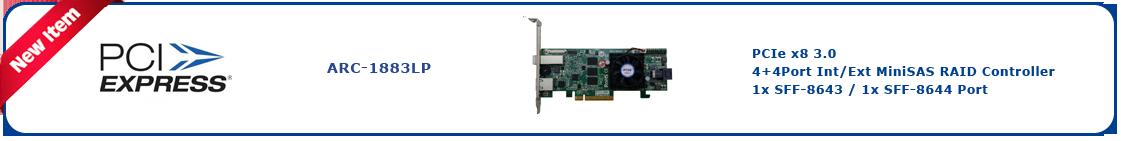 Areca PCIe 12Gb MiniSAS Hardware RAID Controllers